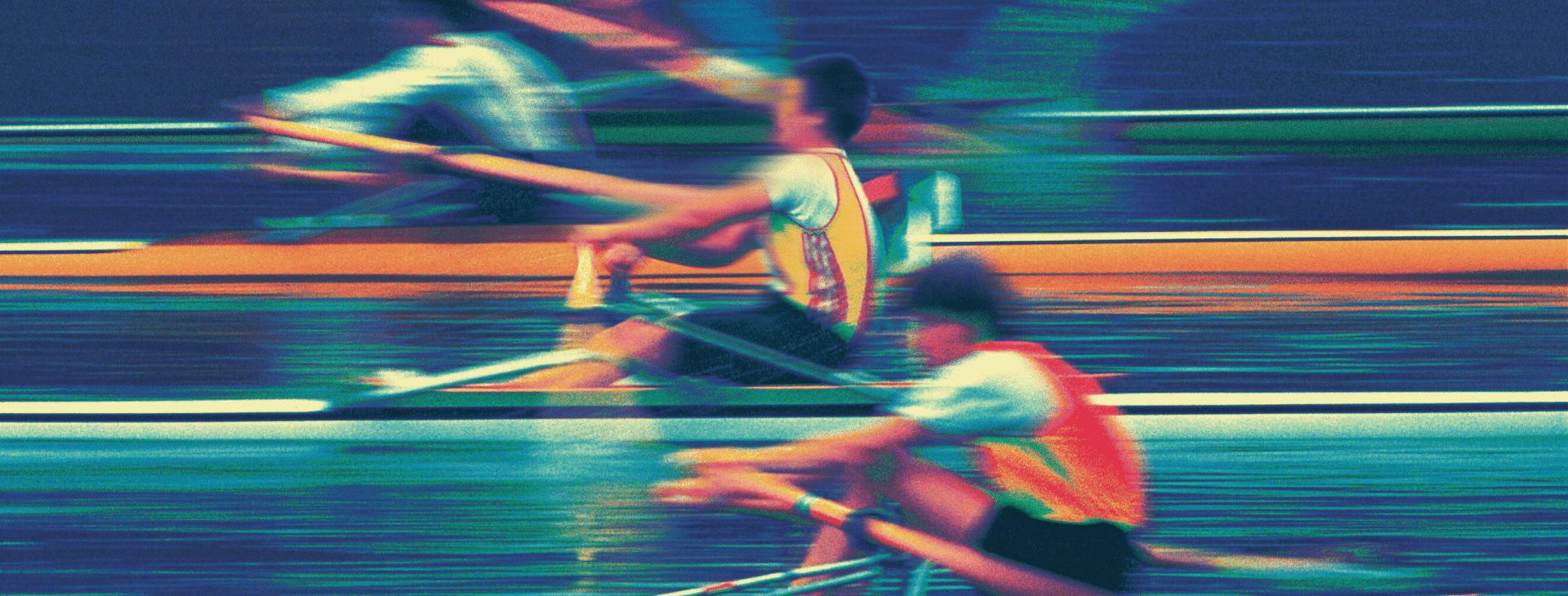 Artistic rowers racing